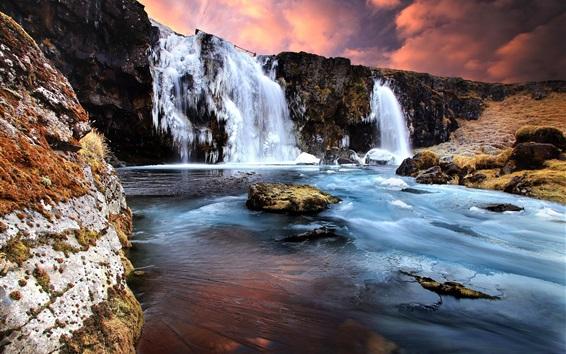 Wallpaper Winter, waterfall, snow, ice, rocks, sunset