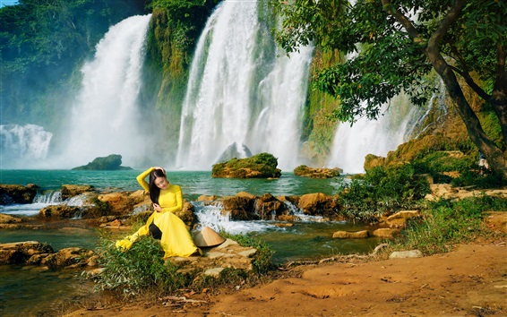 Wallpaper Yellow dress Asian girl, waterfalls, water, trees