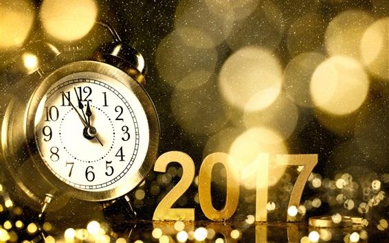Wallpaper 2017 Happy New Year, alarm clock, golden style