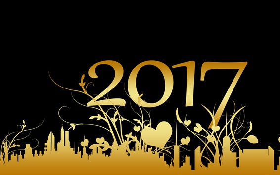 Wallpaper 2017 Happy New Year, golden style, black background