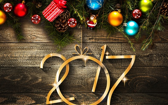 Wallpaper 2017 New Year and Christmas, decorations, toys, balls