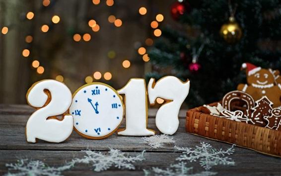 Wallpaper 2017 New Year, cookies, snowflakes, basket