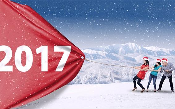 Обои 2017 Новый год, снег, девушки и парень