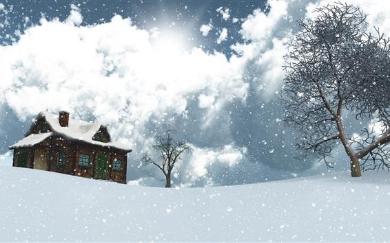 Wallpaper 3D design, winter, snow, house, trees, snowflakes