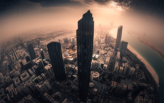 Wallpaper Abu Dhabi, city, skyscrapers, sun rays, morning, United Arab emirates
