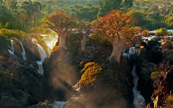 Wallpaper Africa Kunene river, waterfall, trees