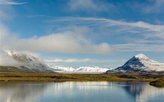 Fondos de pantalla Alaska, reflexión del agua, montañas, lago, Norteamérica