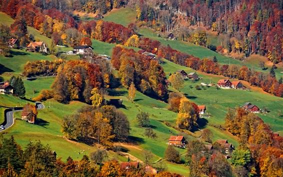 Wallpaper Alps, slope, village, trees, autumn