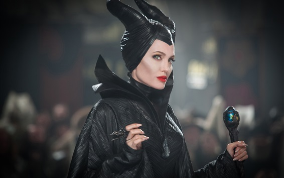 Wallpaper Angelina Jolie, black dress witch, Maleficent