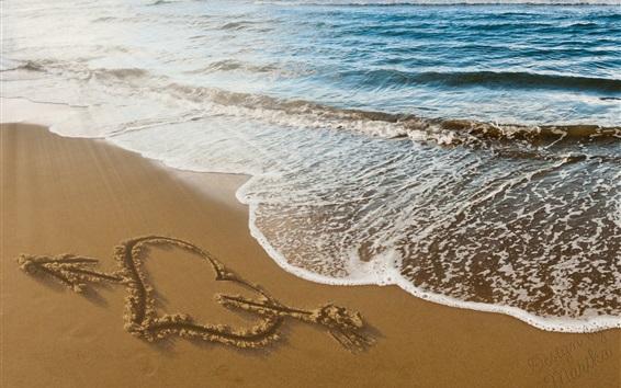 Fond d'écran Flèche, coeur, plage, mer, vagues