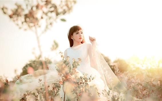 Fond d'écran Asiatique, fille, mariée, lumière soleil