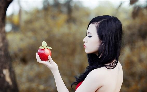 Hintergrundbilder Asiatisches Mädchen Seitenansicht, Hand, Apfel