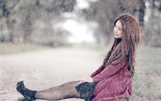 Wallpaper Asian girl sit at street, rainy day