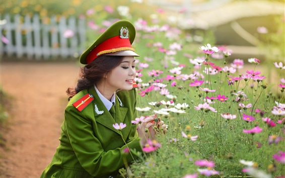 Wallpaper Asian military uniform girl and flowers