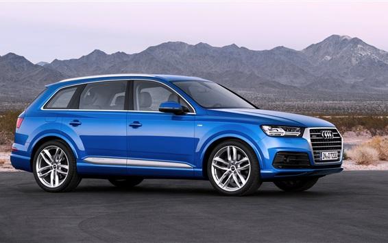 Обои Audi кроссовер синий автомобиль вид сбоку
