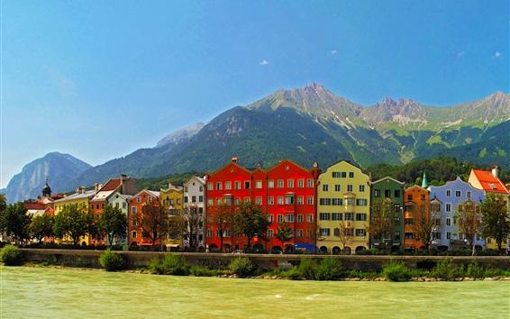 Wallpaper Austria, Innsbruck, mountains, river, houses