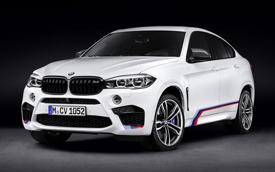 Wallpaper BMW F16 X6 M white car front view
