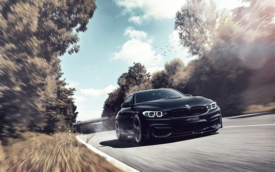 Wallpaper BMW black car speed, front view, road