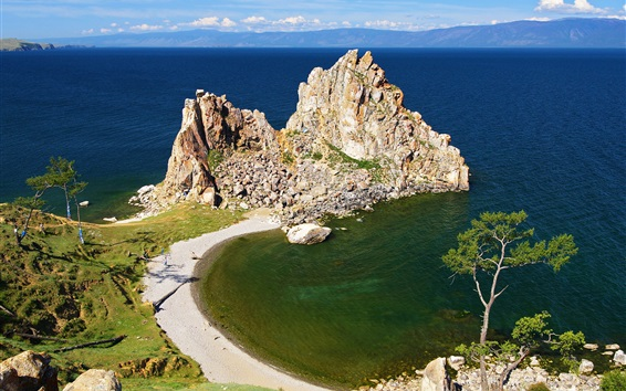 Wallpaper Baikal, lake, shore, beach, stones, trees, Russia