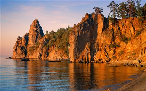 Wallpaper Baikal, lake, trees, mountains, pier, coast