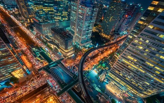 Fond d'écran Bangkok, Thaïlande, capitale, ville, nuit, vue, gratte-ciel, route, lumières