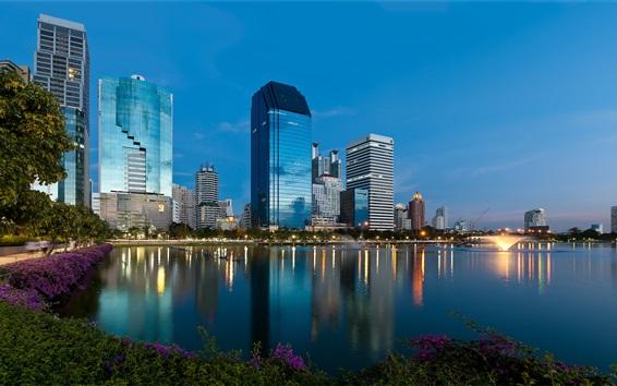 Fondos de pantalla Bangkok, Tailandia, rascacielos, lago, anochecer