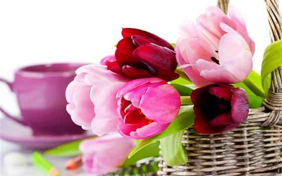 Papéis de Parede Cesta, tulipas, flores rosa