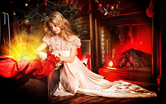 Wallpaper Beautiful blonde girl, princess, fireplace, gift, Christmas, New Year