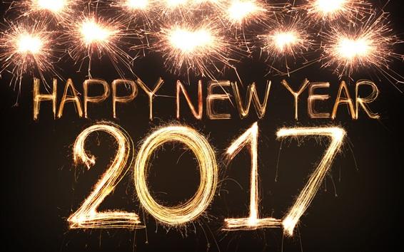 Wallpaper Beautiful fireworks, Happy New Year 2017