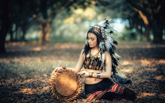 Papéis de Parede Menina indiana bonita, vestido retro