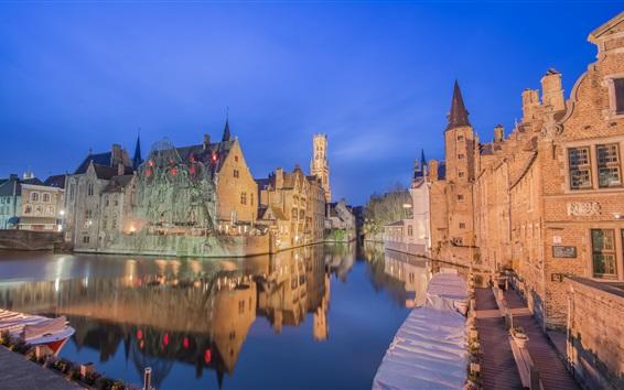 Fond d'écran Belgique, Bruges, ville, nuit, rivière, Maisons
