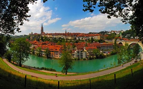 Wallpaper Bern, Switzerland, city, river, houses, road, bridge, trees