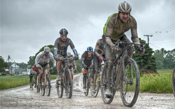 Wallpaper Bike race, rain, HDR style