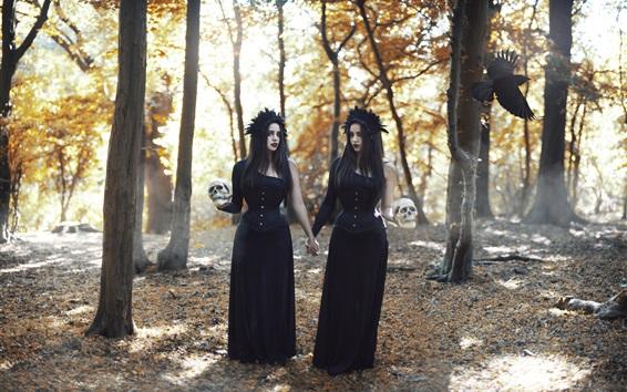 Wallpaper Black dress girls in forest, skull, crow