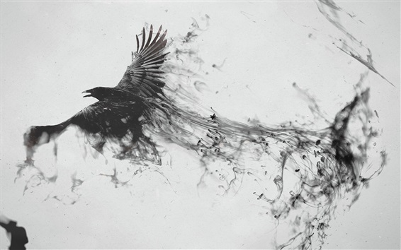 Wallpaper Black raven flying, bird, wings, smoke, creative picture
