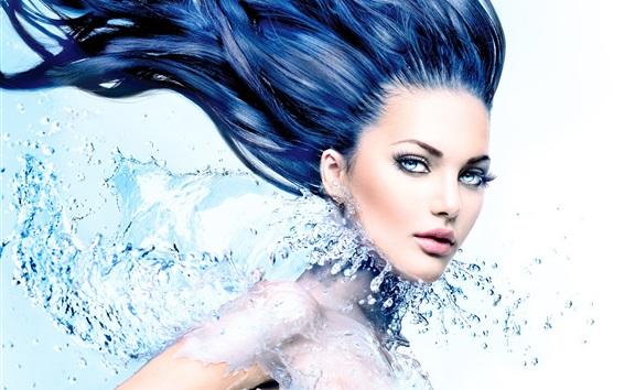 Wallpaper Blue eyes girl, long hair style, water, splash