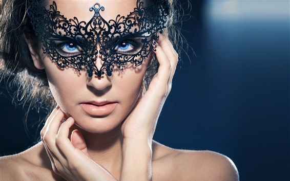 Wallpaper Blue eyes girl, mask, makeup, hands