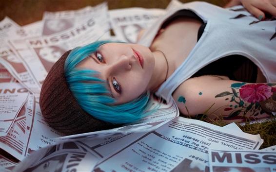 Wallpaper Blue hair girl, Cosplay
