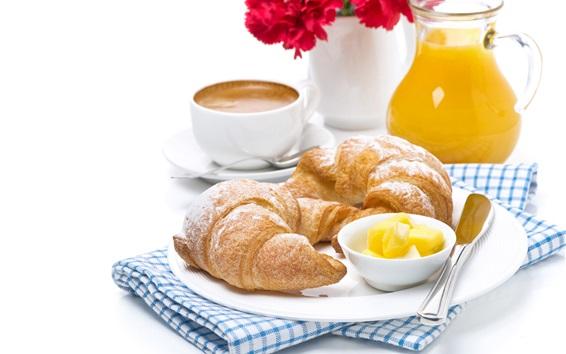 Papéis de Parede Café da manhã, croissants, pão, suco, um copo de café