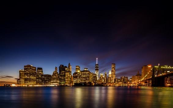 Fond d'écran Brooklyn, pont, nouveau, York, gratte-ciel, nuit, lumières, illumination, USA