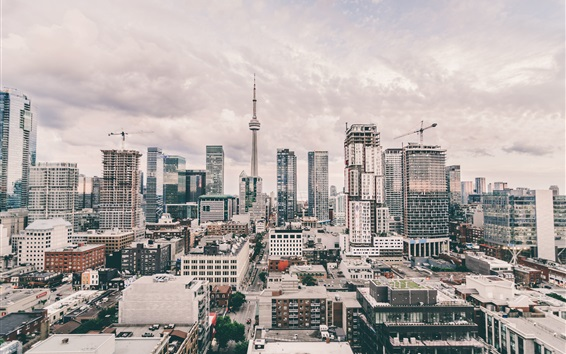 Papéis de Parede CN Tower, cidade, rua, arranha-céus, Toronto, Ontário, Canadá