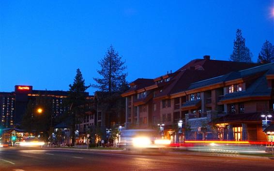 Wallpaper California, USA, South Lake Tahoe, city, houses, lights, night