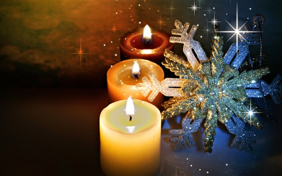 Wallpaper Candles flame, snowflakes, New Year, Christmas