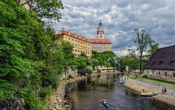Wallpaper Cesky Krumlov, Czech Republic, castle, trees, river, boats, clouds
