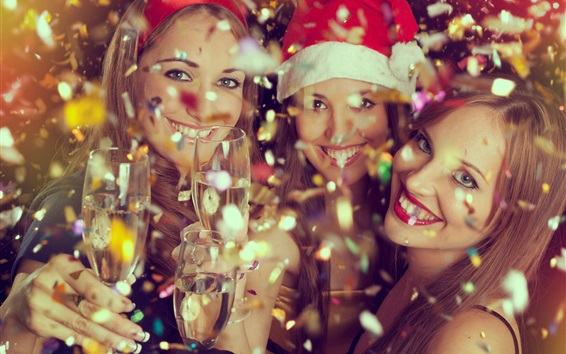 Wallpaper Champagne, happy girls, Merry Christmas