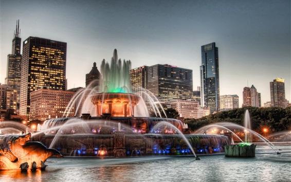 Fond d'écran Chicago, ville, nuit, USA, gratte-ciel, bâtiments, fontaine, eau