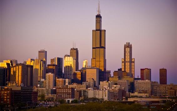 Papéis de Parede Chicago, cidade, arranha-céus, anoitecer, EUA