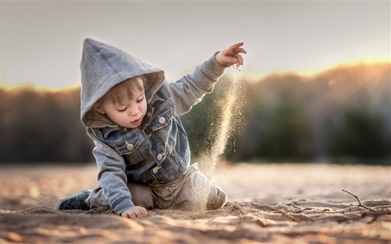 Wallpaper Child boy play sands