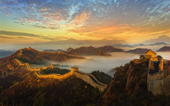 Wallpaper China, Great Wall, mountains, fog, history, architecture, dawn