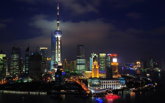 Papéis de Parede China Xangai, o Oriental Pearl Tower, arranha-céus, rio, noite, luzes